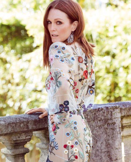 Julianne Moore wears Alexander Mcqueen floral embroidered dress and Chopard earrings
