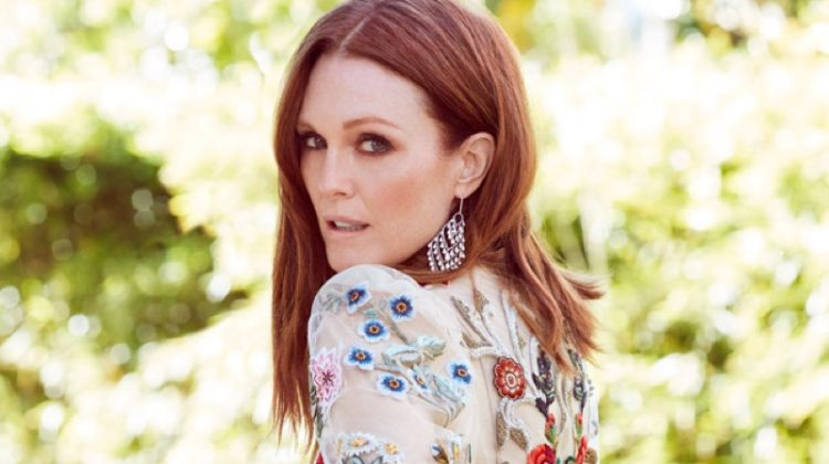 Julianne Moore wears Alexander Mcqueen floral embroidered dress and Chopard earrings