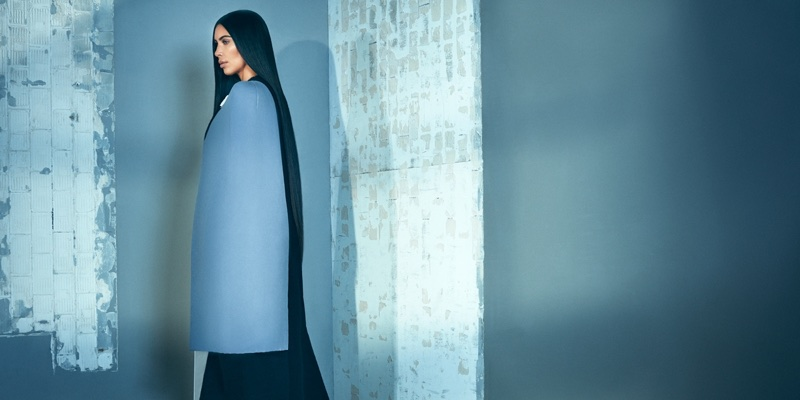 Layering up, Kim Kardashian poses in Rick Owens coat