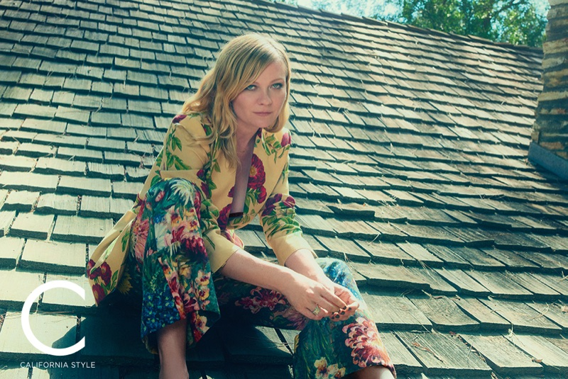 Suiting up, Kirsten Dunst wears Gucci jacket and pants