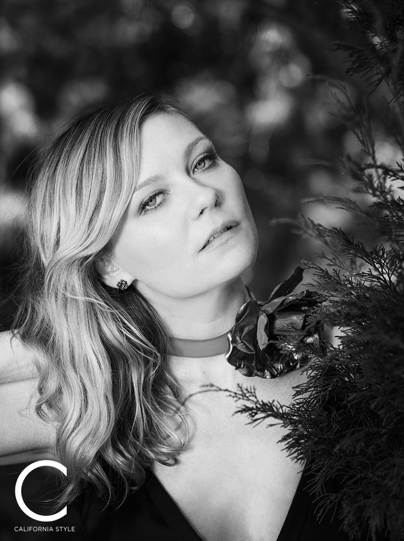Kirsten Dunst wears Saint Laurent dress and choker