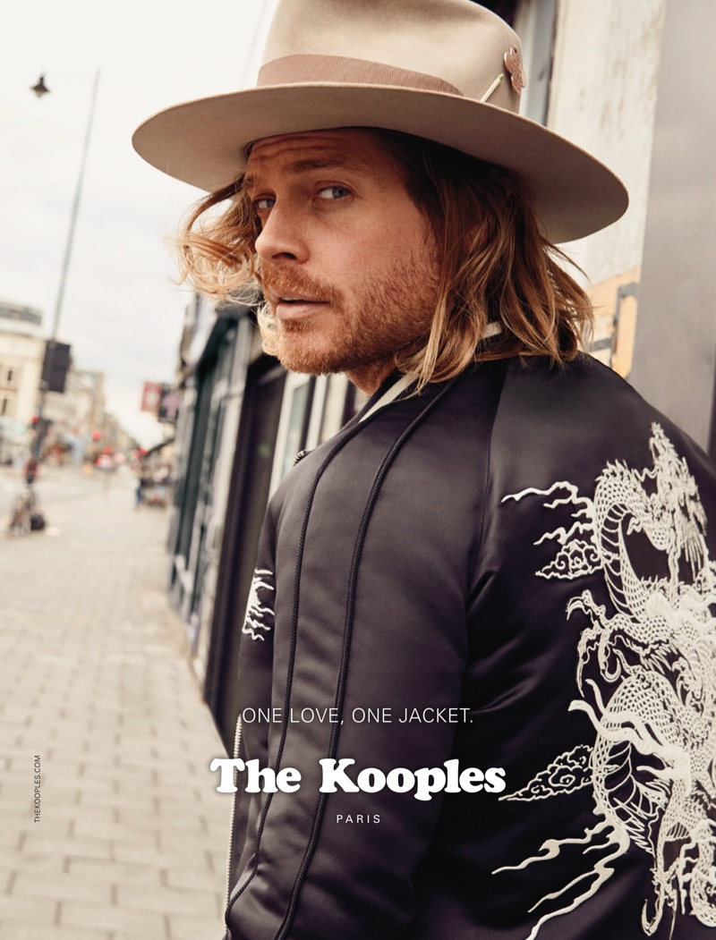 Hat maker Nick Fouquet wears a bomber jacket in The Kooples' fall-winter 2017 campaign