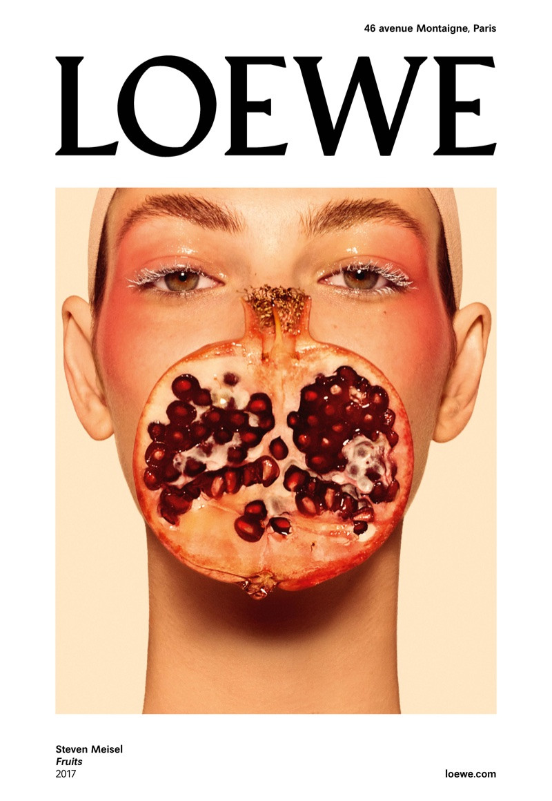 Vittoria Ceretti poses with pomegranate for LOEWE Fruits spring 2018 campaign