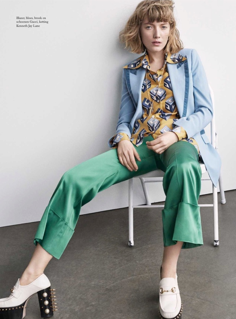 Lou Schoof Poses in Playful Prints for Harper's Bazaar Netherlands