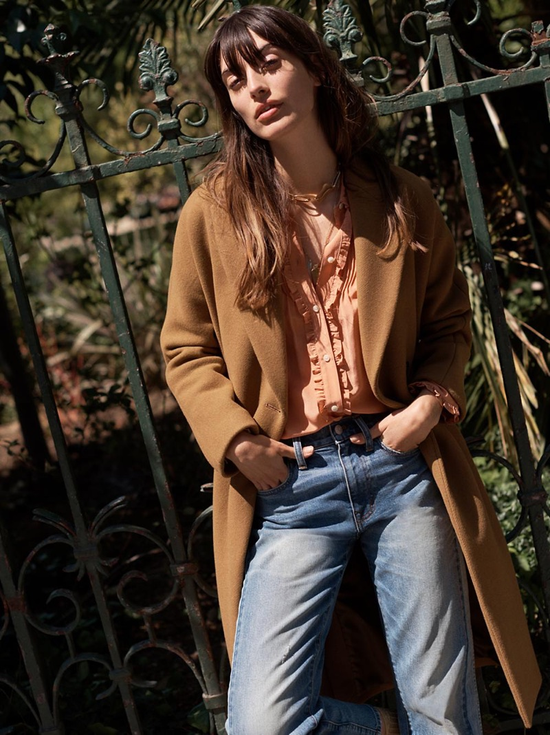 Madewell Atlas Cocoon Coat, Silk Ruffle Blouse and Cruiser Straight Crop Jeans: Pieced Edition