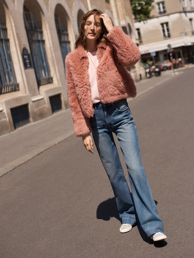 Madewell Pink Mongolian Shearling Jacket, Rivet & Thread Retro Wide-Leg Jeans and Madewell x Veja Esplar Low Sneakers in Suede