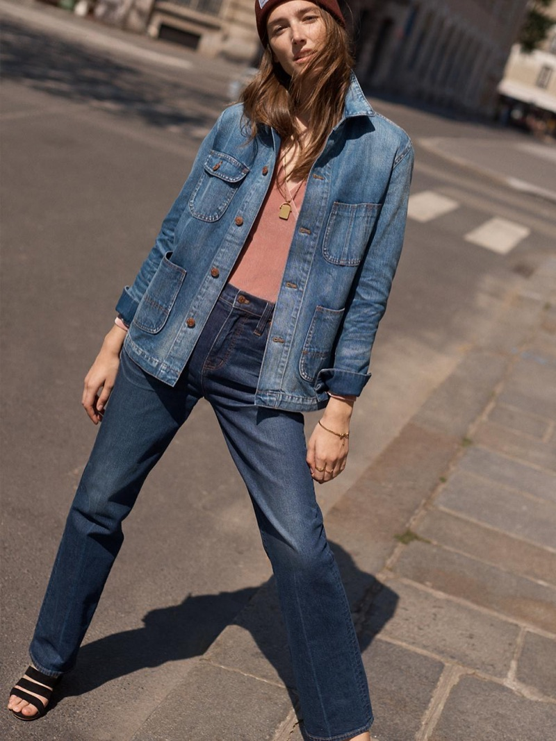 Madewell Denim Chore Coat, Velvet Wrap Bodysuit and Wide-Leg Jeans in Dorset Wash
