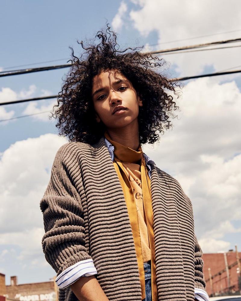 Madewell Fulton Sweater-Coat, Classic Ex-Boyfriend Shirt in Stripe-Mix, Mr. Dijon Tee, Rivet & Thread Retro Wide-Leg Jeans and Slim Silk Scarf