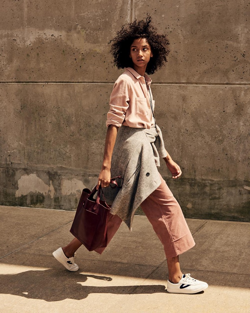 Madewell Herringbone Blazer Coat, Velveteen Langford Wide-Leg Crop Pants, The Transport Tote and Tretorn Nylite Plus Sneakers in Leather and Velvet