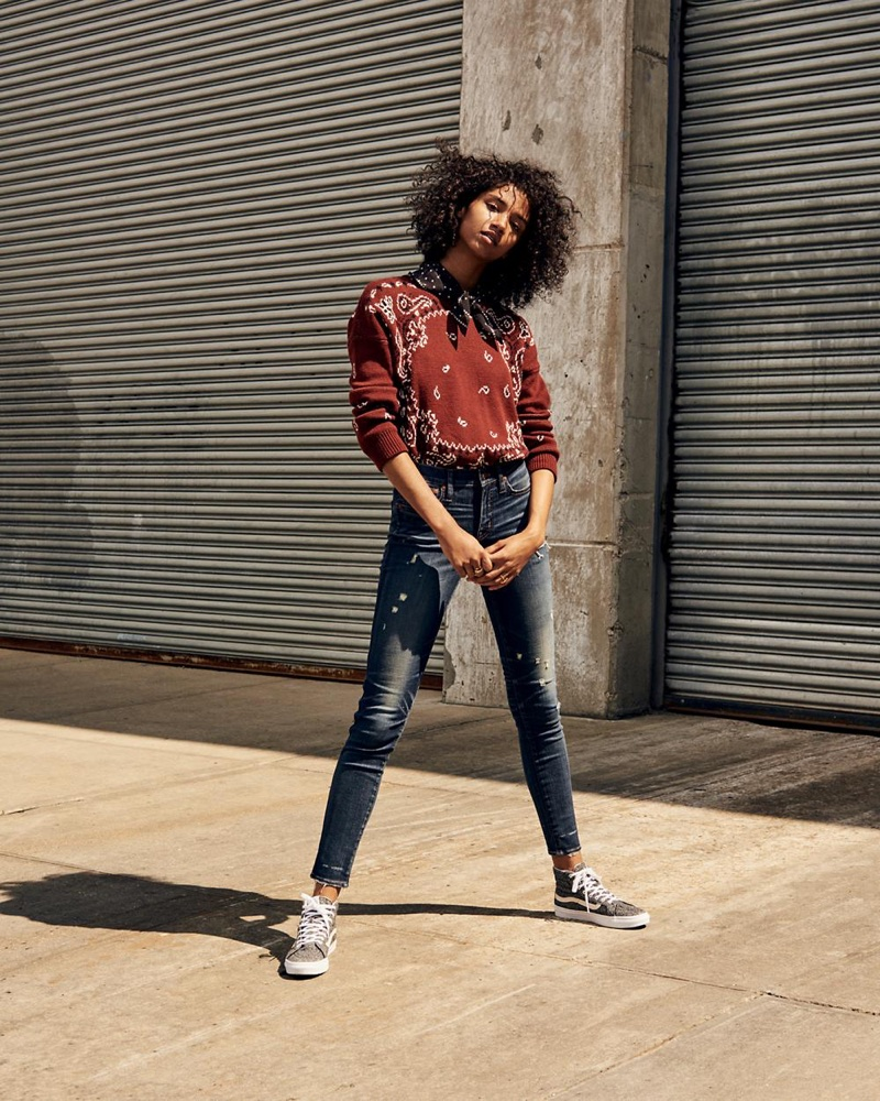 """Madewell Bandana Pullover Sweater, 9"""" High-Rise Skinny Jeans: Distressed Edition, Silk Bandana and Vans Sk8-Hi High-Top Sneakers in Marled Fabric"""