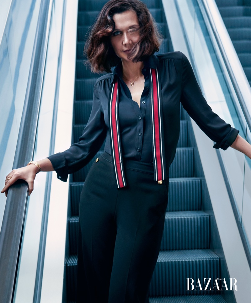 Dressed sharply, Maggie Gyllenhaal wears Kate Spade top and pants