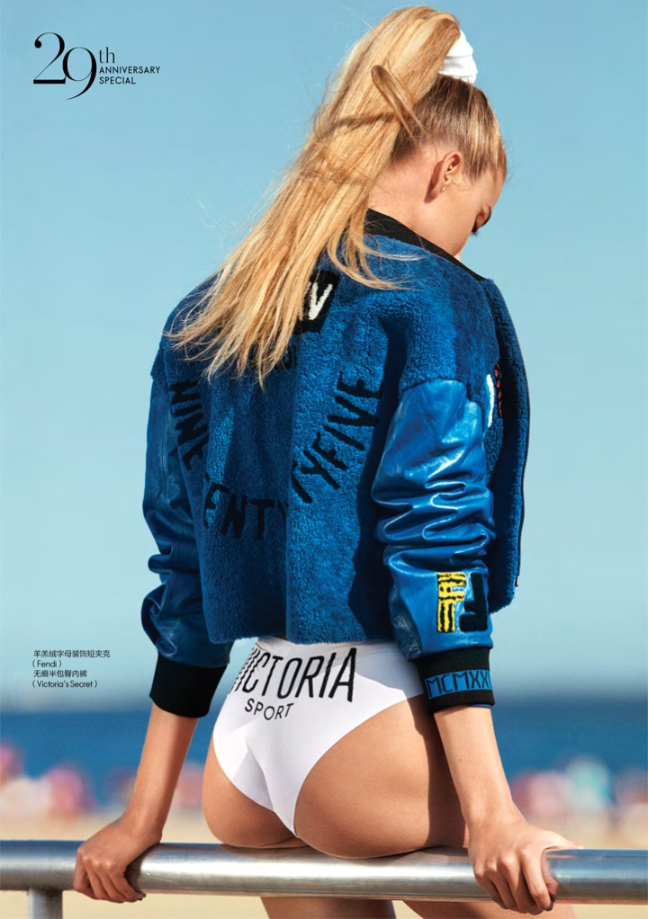 Martha Hunt Wears Sporty Glam Style in ELLE China