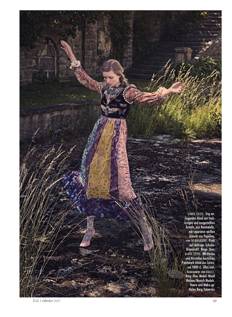 Maud Welzen Poses in Victorian Inspired Dresses for ELLE Germany