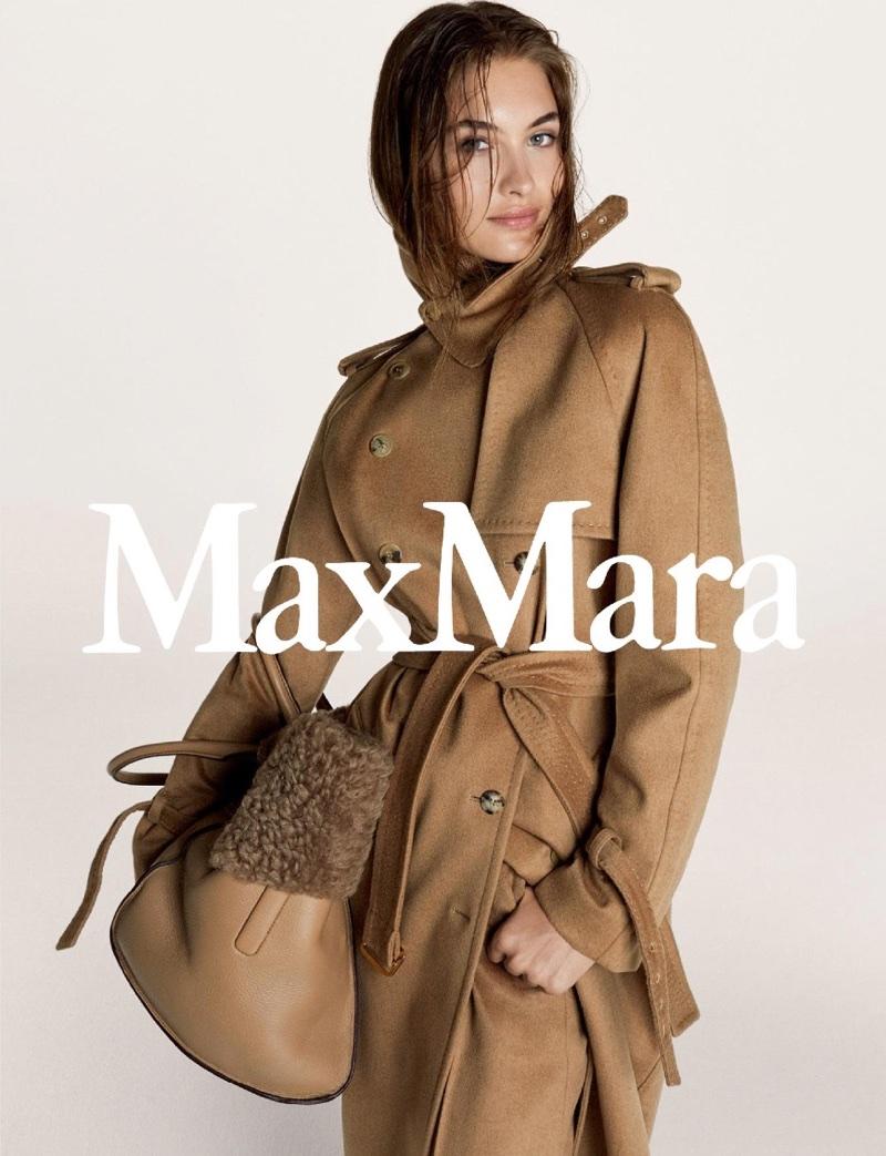 Wearing a camel coat, Grace Elizabeth stars in Max Mara's fall-winter 2017 campaign