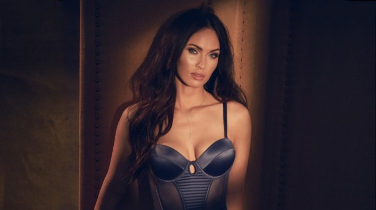 Megan Fox poses in blue negligee from Frederick's of Hollywood