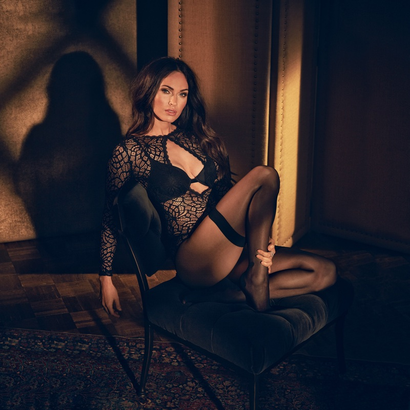 Actress Megan Fox poses in black lingerie for Frederick's of Hollywood