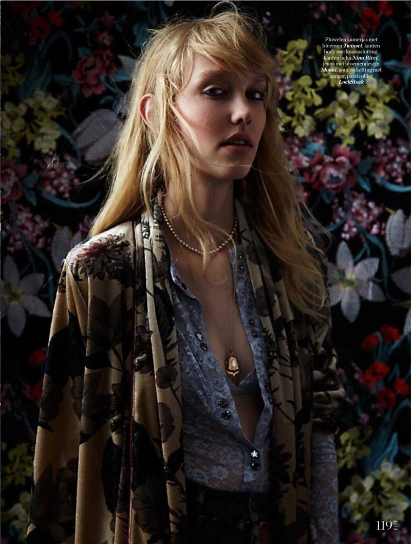 Merel van Mierlo Models Floral Fashions in ELLE Netherlands