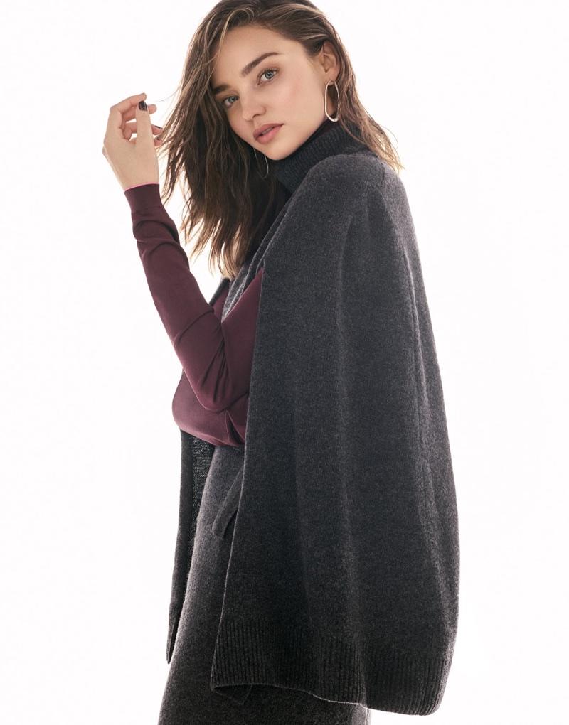 Covering up, Miranda Kerr models Goen J dress and Bottega Veneta top