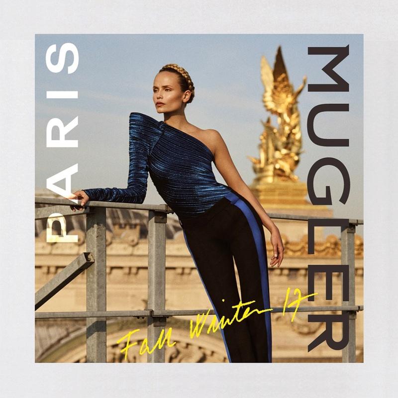 Natasha Poly models one-shoulder top in Mugler's fall-winter 2017 campaign