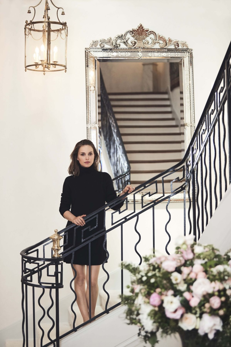 Actress Natalie Portman poses in turtleneck sweater
