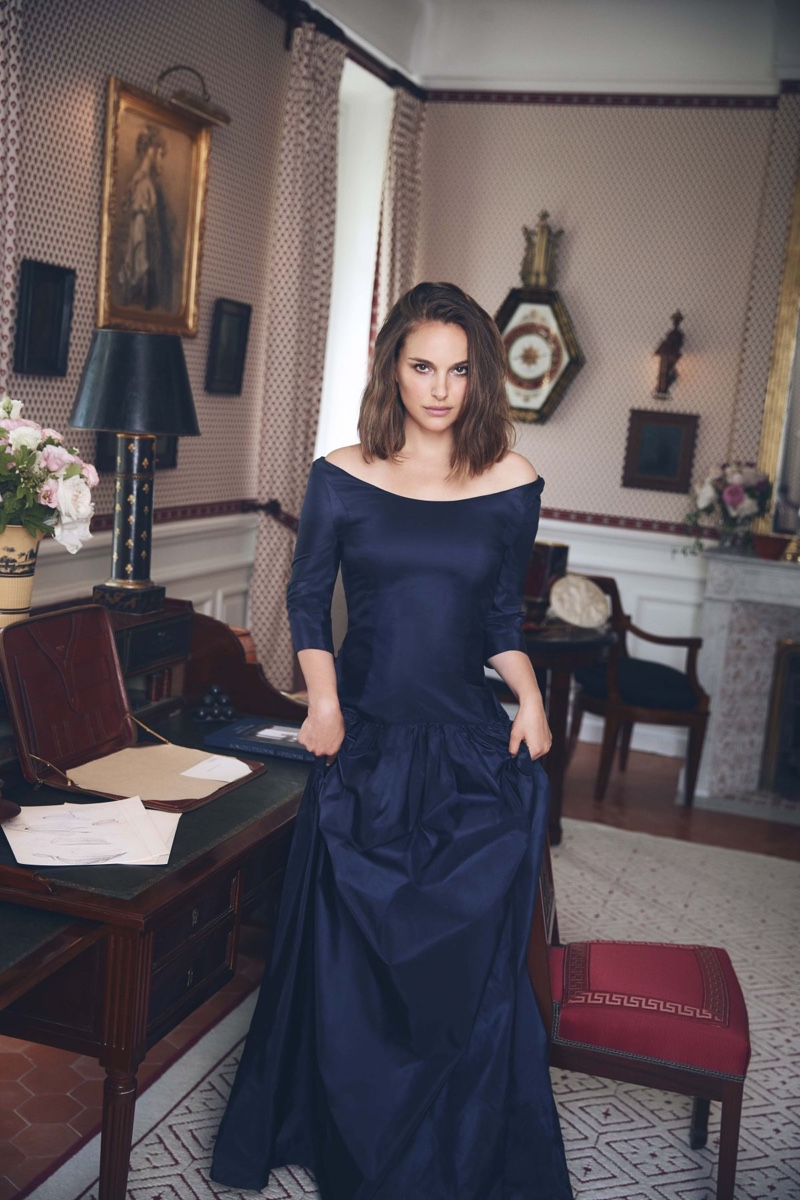 Actress Natalie Portman wears navy blue dress