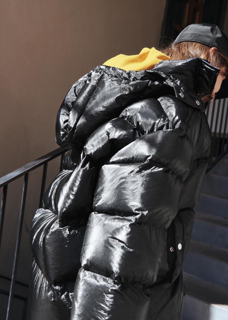 H&M Satin Cap, Oversized Sweatshirt and Puffer Padded Jacket