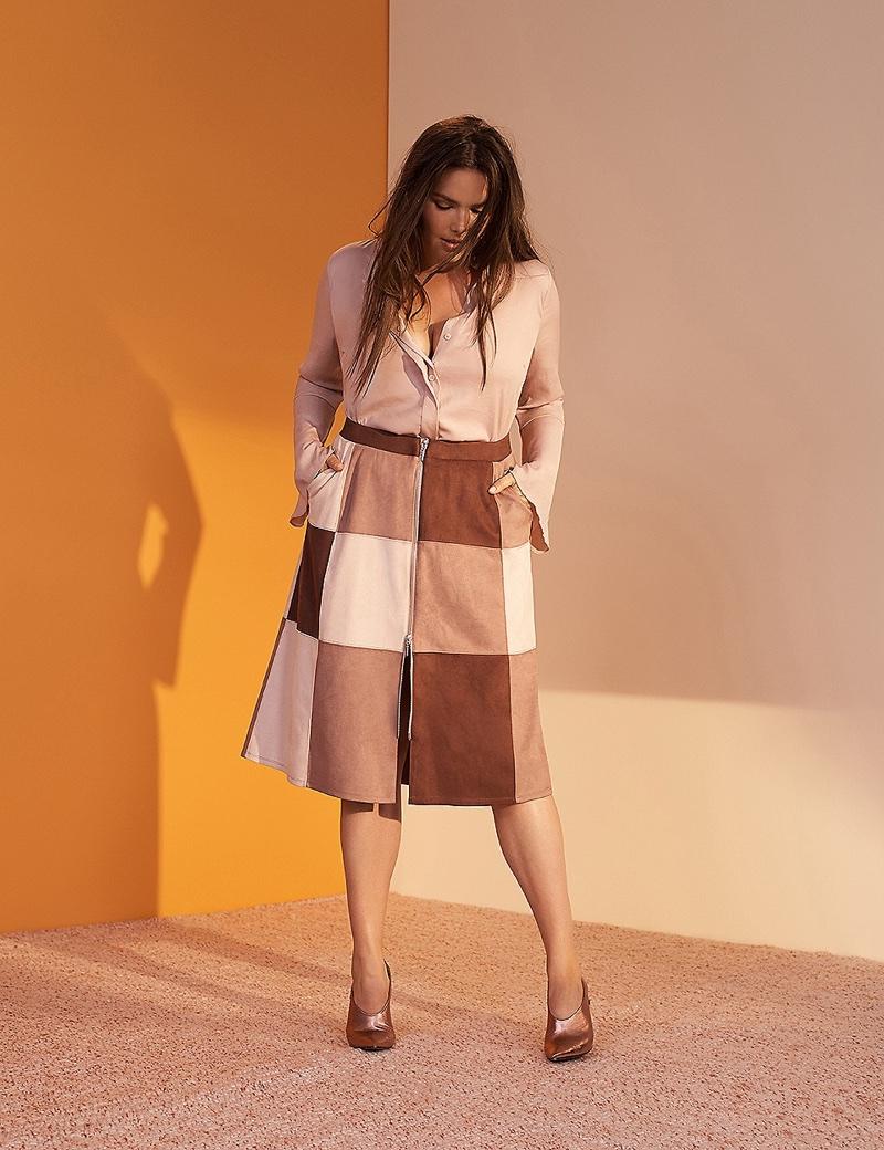 Prabal Gurung x Lane Bryant Faux Suede Midi Skirt $108