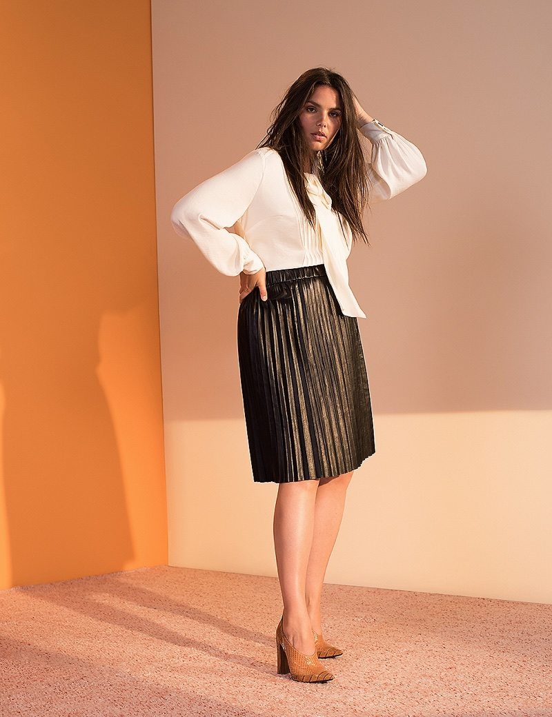 Prabal Gurung x Lane Bryant Pleated Faux Leather Skirt $98