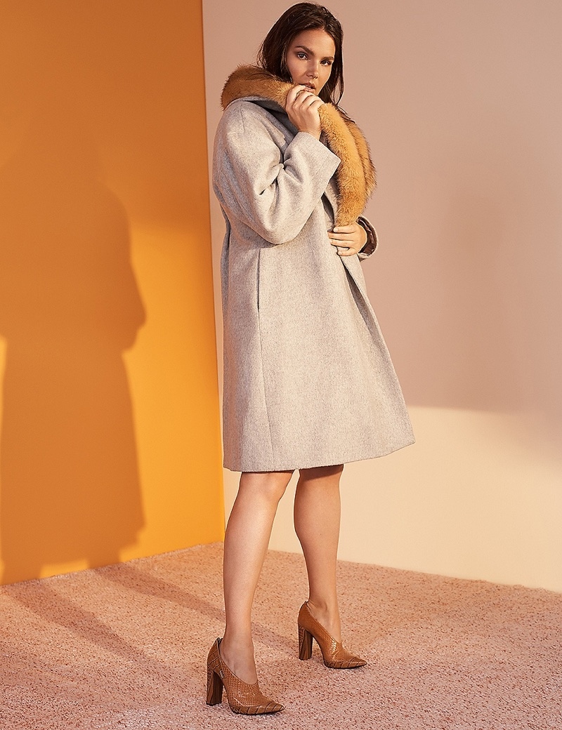 Prabal Gurung x Lane Bryant Wool Blend Coat Faux Fur Collar $278