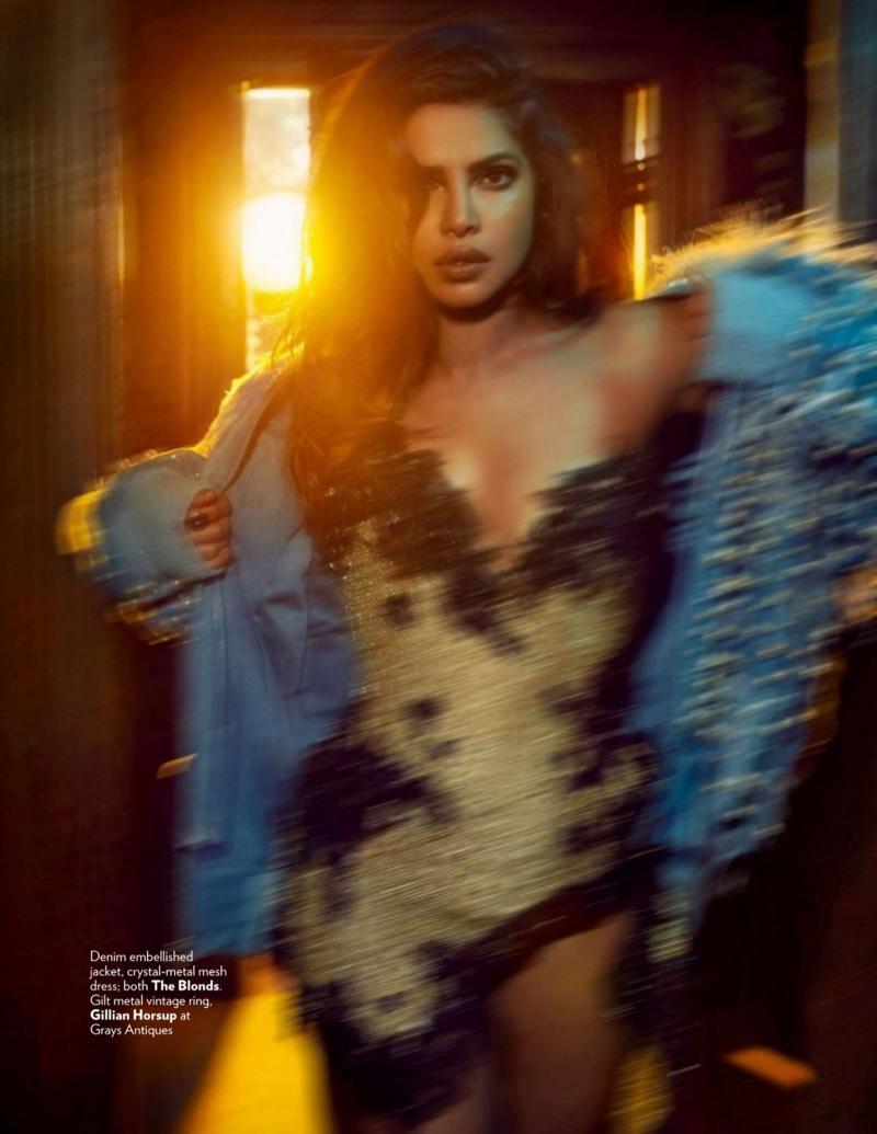 Actress Priyanka Chopra poses in The Blonds denim jacket and mesh dress