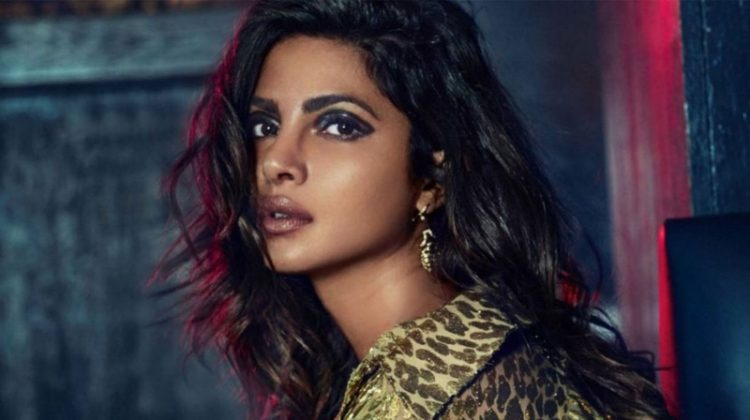 Priyanka Chopra poses in Michael Kors Collection metallic blouse