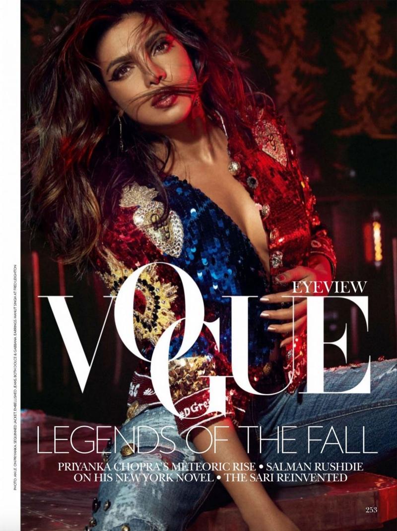 Shining in sequins, Priyanka Chopra wears Dolce & Gabbana sweater and distressed denim