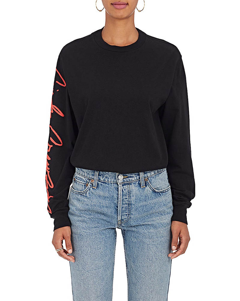 RE/DONE The Crawford Cotton Long-Sleeve T-Shirt in Black $160