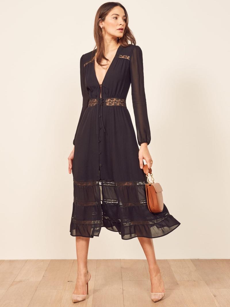 Reformation Imogen Dress in Black $278
