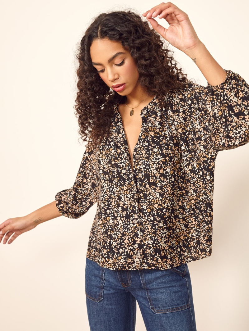 Reformation Laurel Top in Goldfield $78