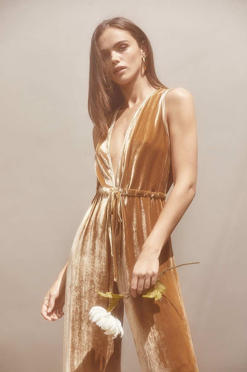 Reformation Holland Jumpsuit in Gold