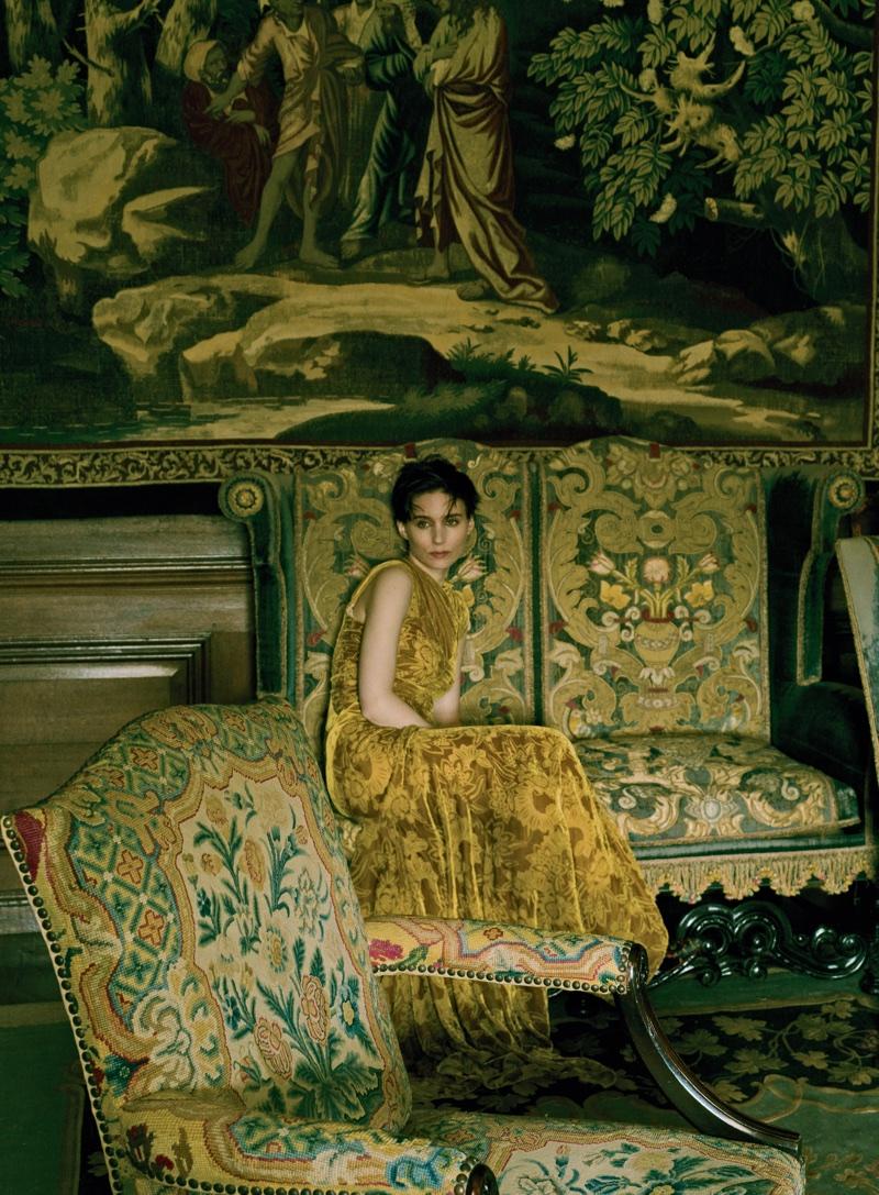 Actress Rooney Mara wears Alexander McQueen dress