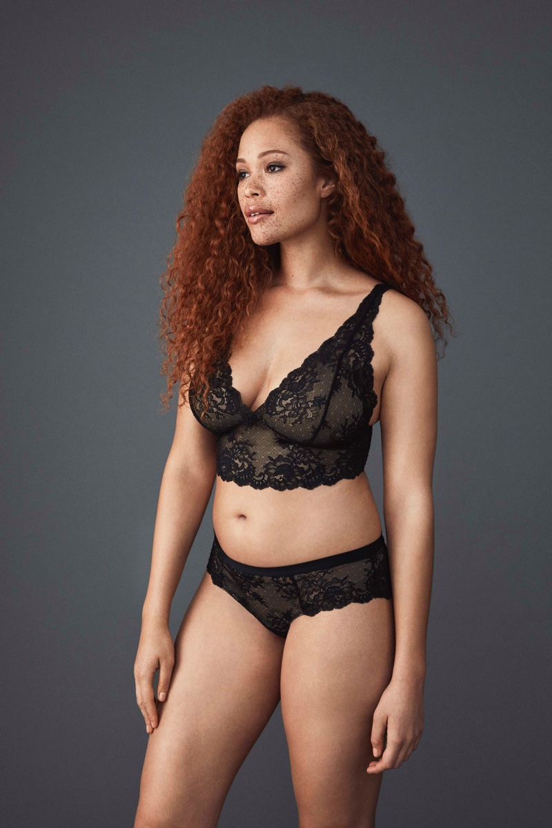 Covered in black lace, Sabina Karlsson fronts Lindex Pink Lingerie collection