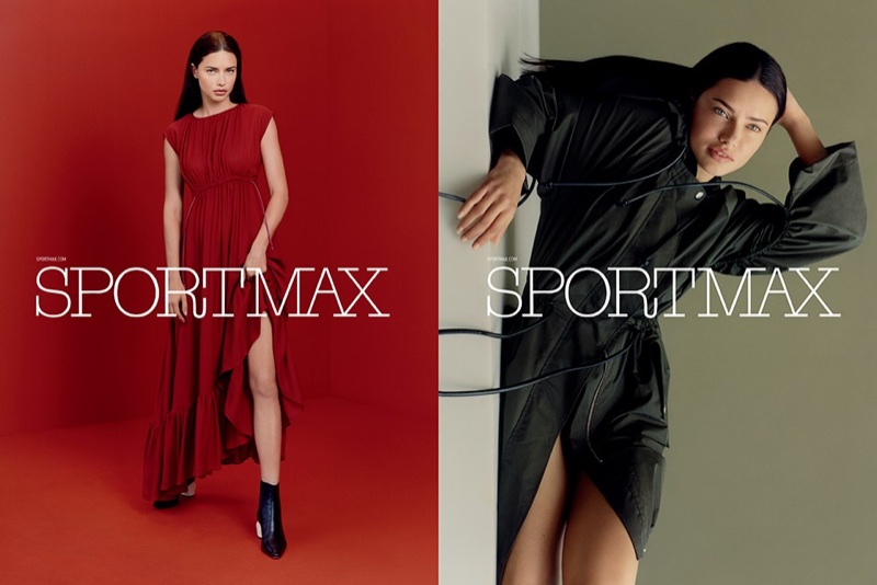 Adriana Lima wears draped looks in Sportmax's pre-fall 2017 campaign