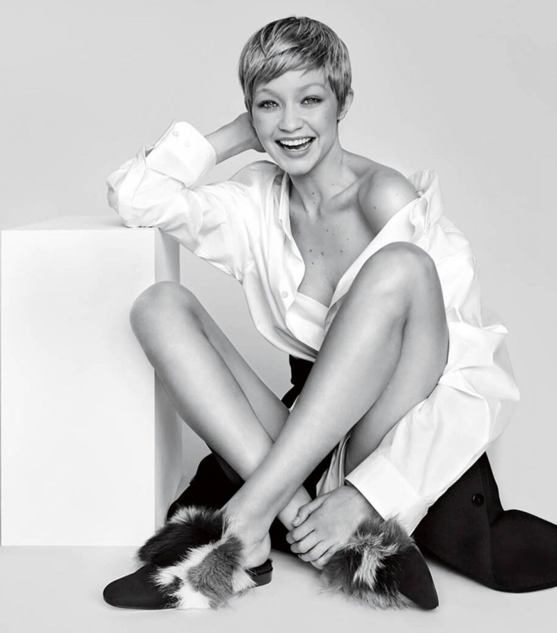 Gigi Hadid flashes a smile in Stuart Weitzman's fall-winter 2017 campaign