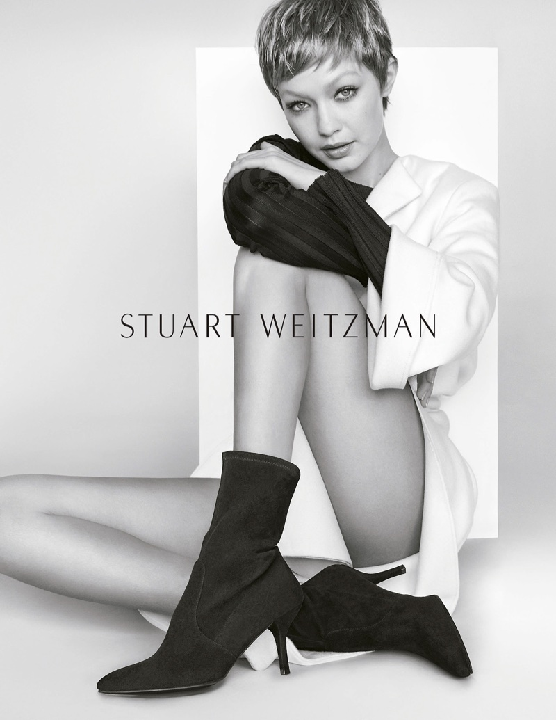 Gigi Hadid poses in Stuart Weitzman's CLING bootie for fall-winter 2017 campaign