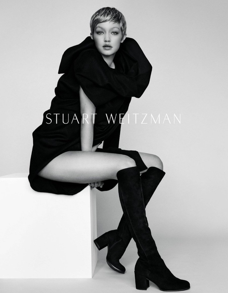 Model Gigi Hadid flaunts some leg in Stuart Weitzman's fall-winter 2017 campaign