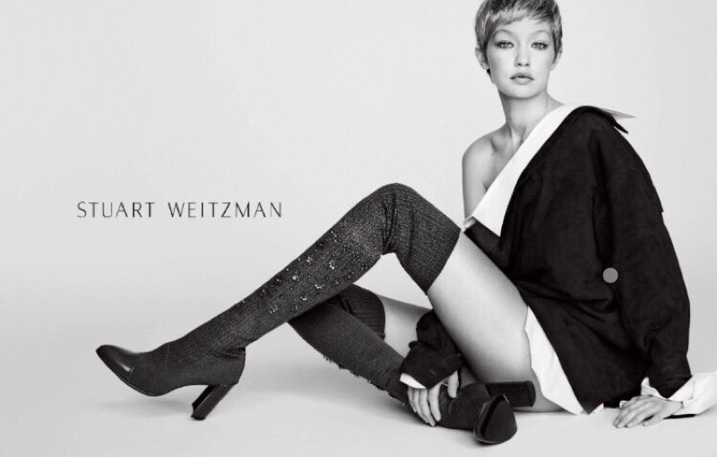 An image from Stuart Weitzman's fall 2017 advertising campaign starring Gigi Hadid