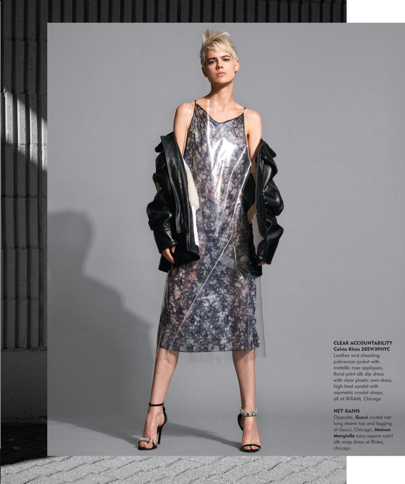 Taja Feistner Wears Shades of Transparency for Chicago Tribune
