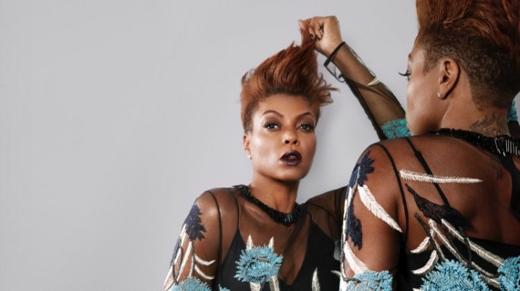 Actress Taraji P. Henson poses in sheer Diane von Furstenberg dress