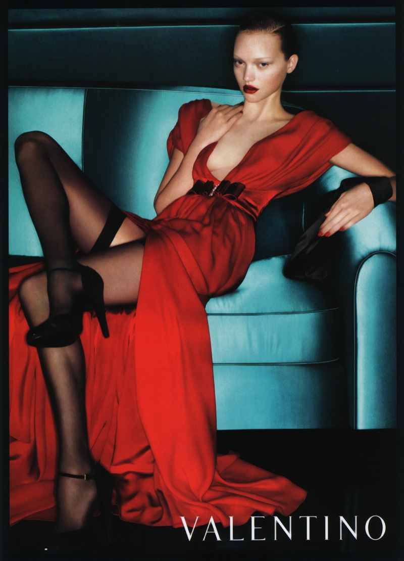 Gemma Ward wears red gown in Valentino's fall-winter 2006 campaign