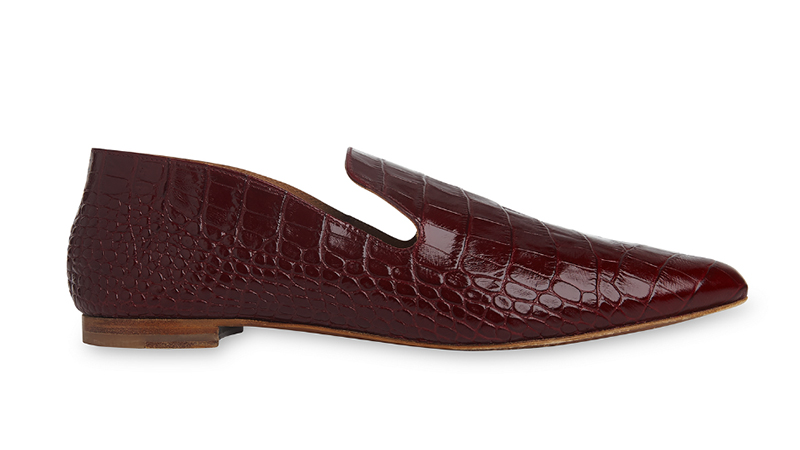 Whistles x By Far Ledbury Flat Shoe in Burgundy $469