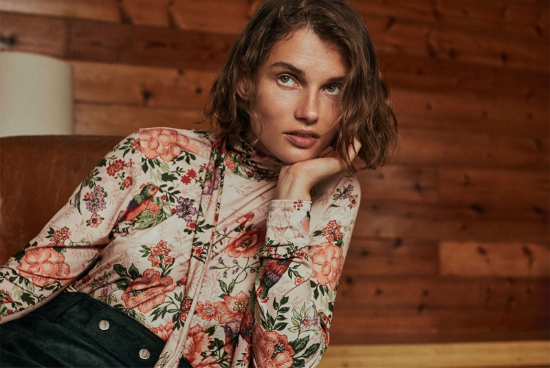 Giedre Dukauskaite wears Zara Floral Bow T-Shirt and Suede Mini Skirt