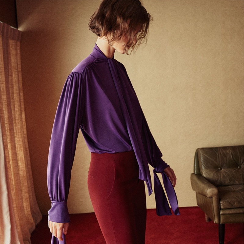 Giedre Dukauskaite models Zara Bow Blouse and Flared Flowing Trousers