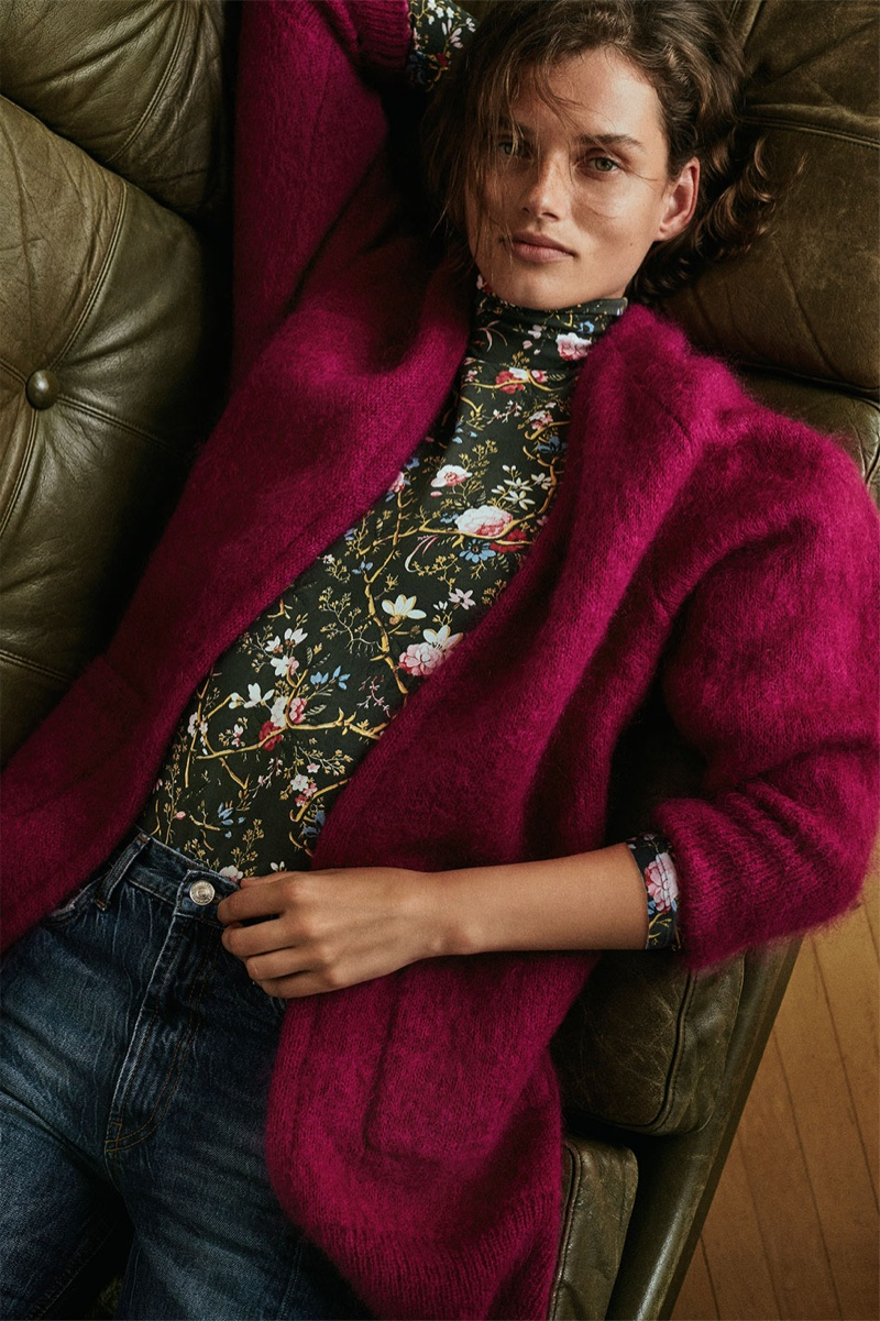 Giedre Dukauskaite models Zara Long Mohair Cardigan, Floral Print Turtleneck and Real Slim Flare Jeans